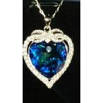 Silyheart Swarovski Blue heart w/ Silver Necklace
