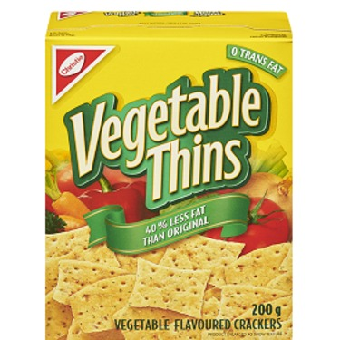 Christie vegetable thins 40% less fat
