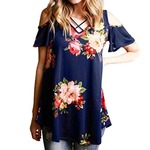 Blackobe Womens Elegant Rose Printed Off Shoulder Short Sleeve T-Shirt