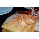 "CLASIER Organic Bamboo Cutting Board Extra-Large 12"" x 18"" & 4 Piece Utensils Set"