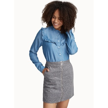 TWIK Accent-zip ribbed skirt
