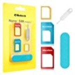 Helect 5-in-1 Nano & Micro SIM Card Adapter Kit Converter with Polish Chip and Eject Needle