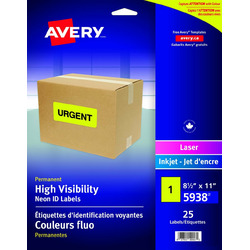 "Avery High Visibility Labels for Laser and Inkjet Printers, 8.5"" x 11"""